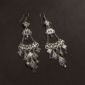 Jewelry - Vintage style silver and light purple dangling gem
